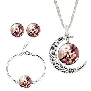 GirlZ! Crescent Moon Galactic Universe Flower Glass Cabochon Art Picture Pendant Earrings And Bracelet Set