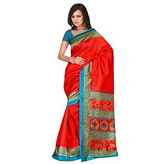 Shopeezo Daily Wear Red and Turquoise Color Banarasi Cotton Silk Saree/Sari