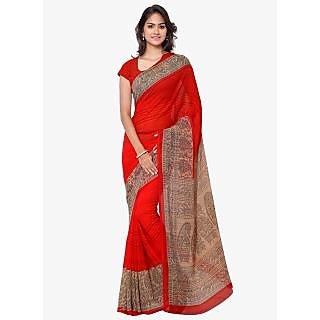 Shopeezo Daily Wear Red and Light Yellow Color Dani Georgette Saree/Sari