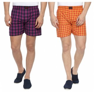 Wajbee Mens 100 Percent Cotton Boxer Shorts (Pack of 2)