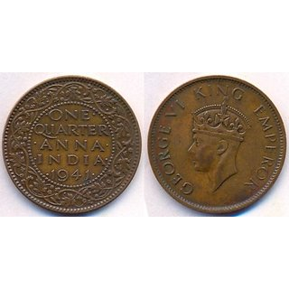 MAHNA GEORGE VI KING EMPEROR ONE QUARTER ANNA INDIA 1941 COIN/SIKKA