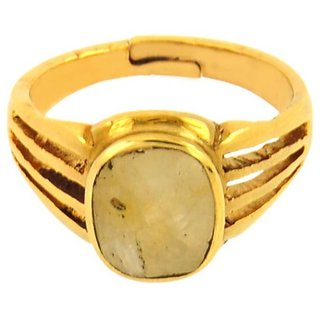jaipur gemstone 4.25 carat yellow sapphire(ashtdhatu ring)