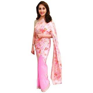 Madhuri Dixit Baby Pink Net Bollywood Saree