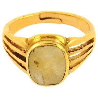 jaipur gemstone 4.50 ratti yellow sapphire(ashtdhatu ring)