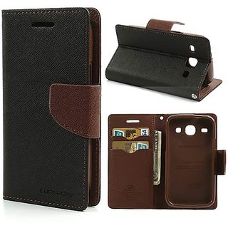 New Mercury Goospery Fancy Diary Wallet Flip Case Back Cover for Samsung Galaxy J2  (Brown)