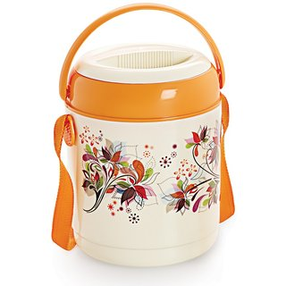 Cello Mark Insulated Lunch Carrier with 3 Container, Orange