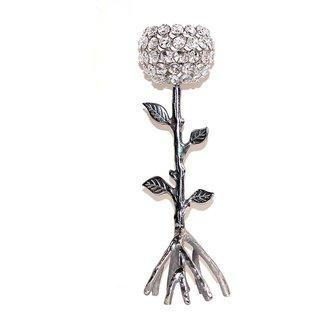 Craftghar Aluminium Candle Stand - (13x4x18 in, Silver)