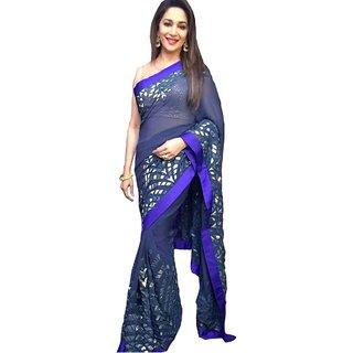 Bollywood Madhuri Dixit Blue Georgette Designer Saree