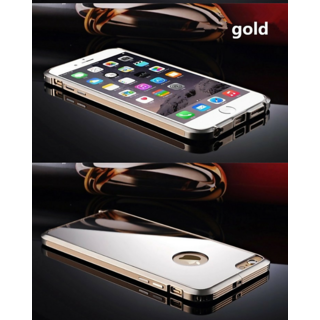 Luxury Metal Frame Acrylic Mirror Surface Case For Apple Iphone 5/5S - Gold