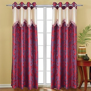 Attractive Maroon Printed Eyelet Door Curtain (210 cm)