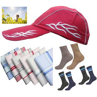Summer cotton 6 pc hankey,1 pc Cap with  3 pc cotton socks