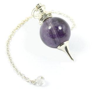Shubhang Crystal Shop Amethyst Ball Chain Pendulum Dowser