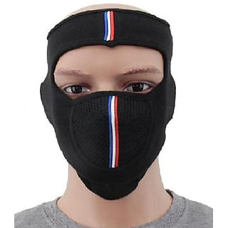 Unisex Face Mask Head Protector Black For Bikers With Velcro
