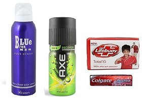 Combo of BLUE For Men Deo + Axe + Lifebuoy Soap + Colgate
