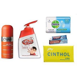 Freshness combo  Jovan Musk Deo + Lifebuoy Handwash + Dettol Soap + Colgate + Cinthol Soap