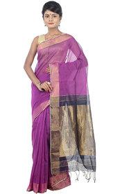 Avik Creations Purple Art Silk Self Design Saree With Blouse