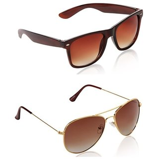 Blue-Tuff Golden  Brown UV Protection Mens Aviator Sunglass (Pack Of 2)