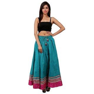 Gurukripa Shopee Beautiful Green Cotton Solid  Skirt GKS00-22