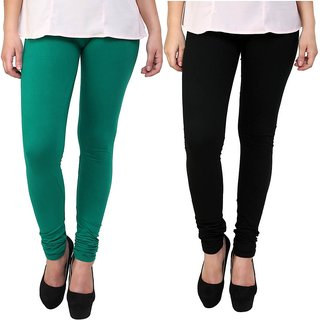 Stylobby Green and Black Leggings For Girls Pack of 2