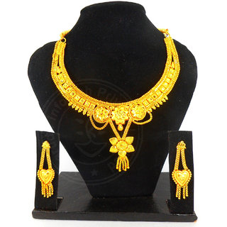 Velamart Fashion Gold Plated Necklace Jewellery Set with Eartops, Earrings - GKS-706