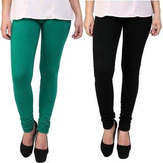 c2c515625f7b6 Buy Stylobby Green and Black Leggings For Girls Pack of 2 Online ...