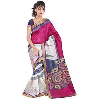 Designer Sarees Pink Bhagalpuri Silk Saree