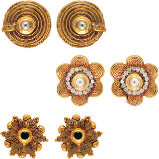 Om Jewells Traditional Ethnic Combo of Mystic Three Earrings with Crystals stones for Women CO1000005