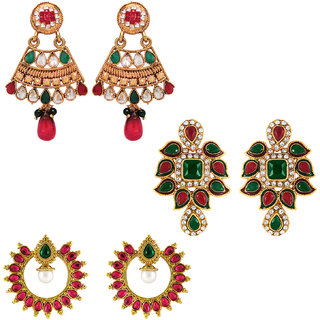 Om Jewells Traditional Ethnic Combo of Grand Three Earrings with Crystals stones for Women CO1000006