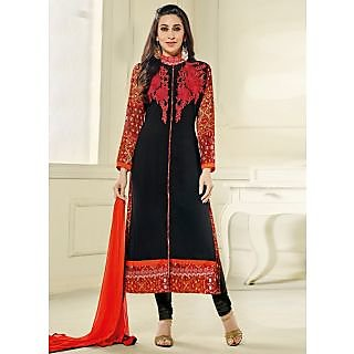 Vastrani Black Georgette Embroidered Party Wear Salwar Suit 397DR40004