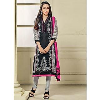 Vastrani Black and Grey Georgette Embroidered Party Wear Salwar Suit 397DR40006