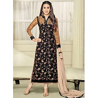 Vastrani Black and Cream Georgette Embroidered Party Wear Salwar Suit 397DR40007