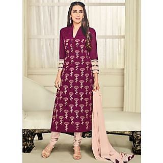 Vastrani Maroon and Peach Georgette Embroidered Party Wear Salwar Suit 397DR40008