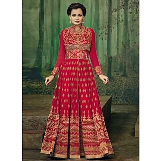 Vastrani Red Georgette Embroidered Party Wear Salwar Suit 400DR3002