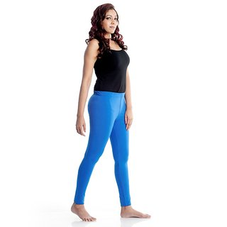 PISTAA'S Turqouise blue Stretch Churidar Cotton Leggings