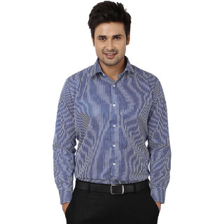 Hankcock Cotton Blue Men Full Sleeves Formal Shirts (425Blue)