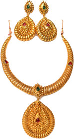Beeline 1 Gram Gold Plated Pipe Necklace  Golden Spring Metal Neck Fit Torques Chokers Necklace In Kundan For Women