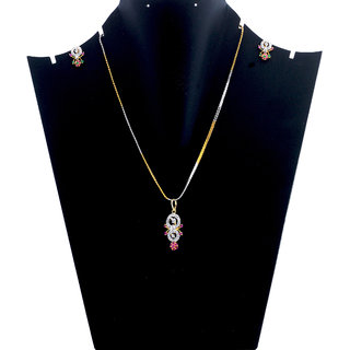 Antiquejewels Gold Plated Cubic Zircon Multi Color Jewellery Set, Earring and Necklace