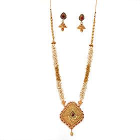 Beeline Unique Traditional Pearl Chain Necklace Set, Temple Necklace for Women