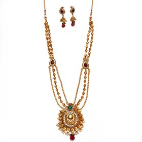 Beeline Gorgeous multi-color layered flower necklace set  3 layer Mohan Maal for Women