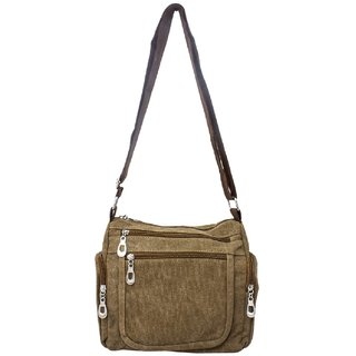 Girls Brown Denim Sling Bag