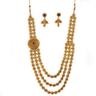 Beeline Unique Traditional 3 Flower Design Chain Necklace Set, Temple Kemp Necklace for Women