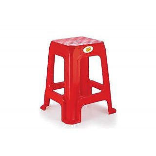 THEFURNITUREGALLERY Combo of 4 Plastic Stools NakodaDiamond 19 Inch Red