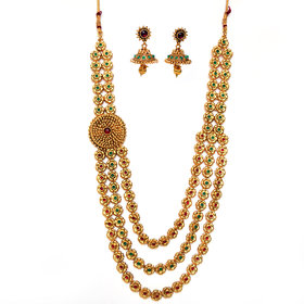 Beeline Beautiful Traditional 3 Flower Design Chain Necklace Set, Temple Kemp  Green Necklace