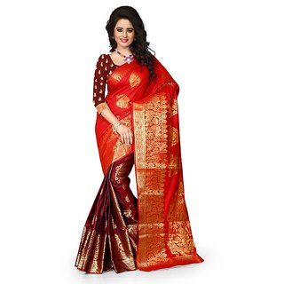 Designer Art Silk Red Color Saree For Women