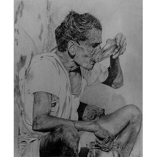 pencil art of farmer with framed