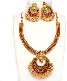 Beeline Exclusive Temple Ganesh Ganpati Pendant Red Green Stone Studded traditional necklace collection for Women