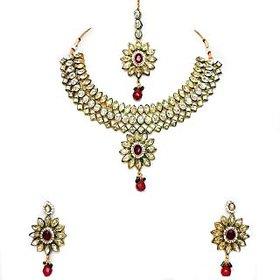 Beeline 3 Line White Kundan meena Bridal Necklace Set for Women