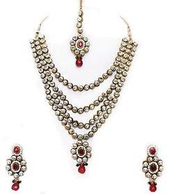 Beeline 4 Line White Kundan Round kundan meena Bridal Necklace Set for Women