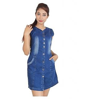 BISMI BOUTIQUES  Clothing Blue Denim Mini Dress