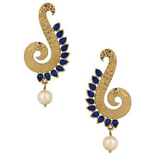 Voylla Gold Plated Spiral Curve Earrings With Pearl Beads Blue Stones